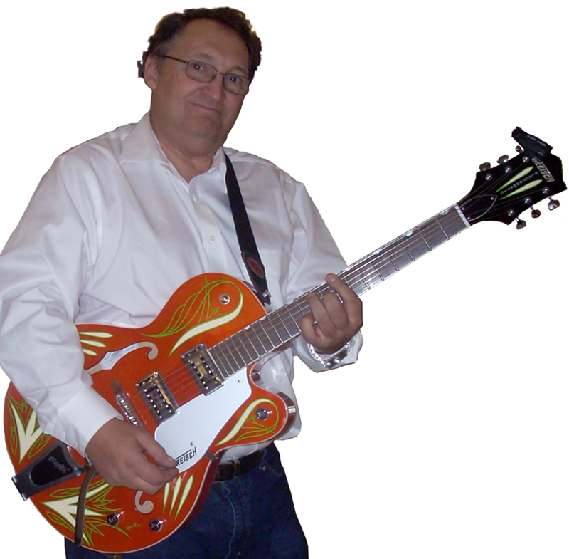 Roger Chartier plays a Gretsch guitar